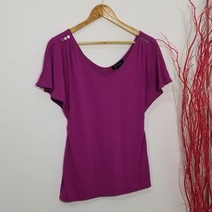 White House Black Market | Purple Scoop Neck Shirt